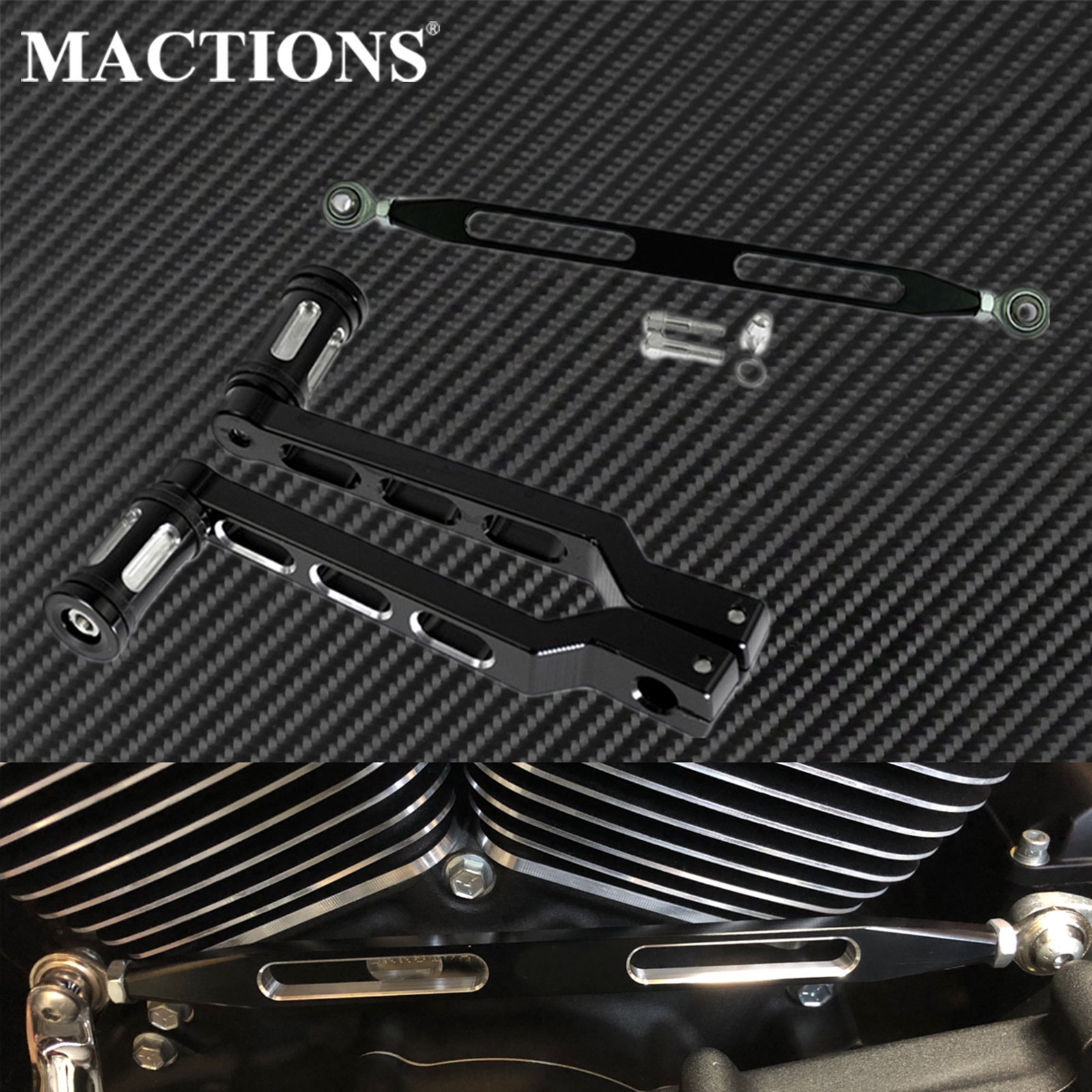Motorcycle Heel Toe Gear Shifter Shift Lever with Shift Pegs 330mm Gear Shift Linkage Brake Clutch Lever For Harley Dyna Touring