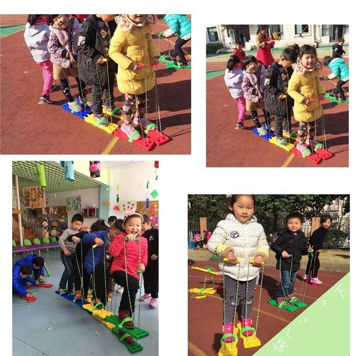 Intégration sensorielle 3 personnes jeux de sport enfant chaussures de société travail en groupe jeu enfant chaussures synchrones sens de l'entraînement