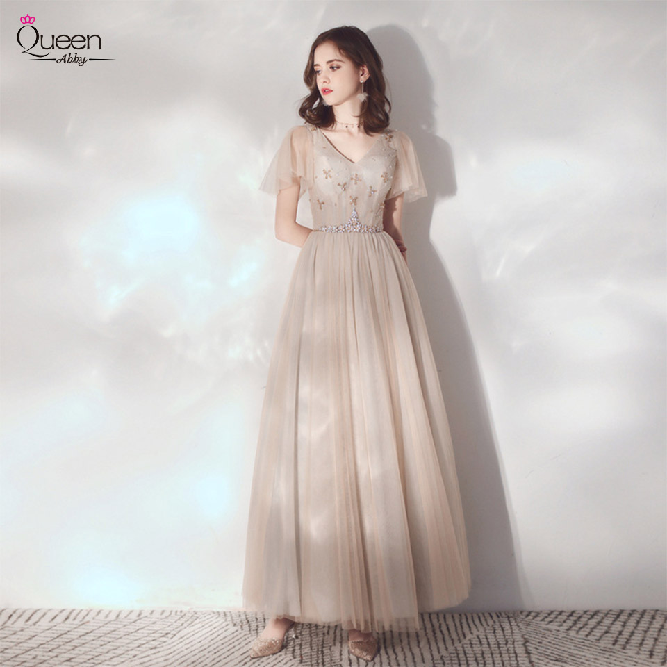 Gorgeous Evening Dress A-line V-neck Short Sleeves Sequined Floor-length Tulle Dress with Sashes for Party