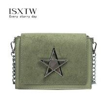 ISXTW Fashion New Small Square Bag Scrub PU Leather Crossbody Trend Star Lock Casual Comfort Handbag Green Lady Shoulder Bag/A53
