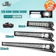 """שיתוף אור סופר רזה 12D 8 """"20"""" 32 """"LED בר ספוט מבול קרן LED אור בר עבור טרקטור סירת Offroad 4WD 4x4 משאיות SUV טרקטורונים 12V 24V"""