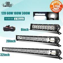 Co-light – barre de faisceau d'inondation Super mince 12D, 8, 20, 32 pouces, pour tracteur, bateau tout-terrain, 4WD, 4x4, camion, SUV, ATV, 12V, 24V