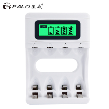 цена на PALO LCD display AAA AA battery charger for AAA AA NI-MH and NI-CD Rechargeable battery charging for batteries with car charger