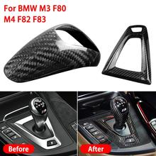 1kit Car Faux Hard Carbon Fiber Gear Shift Knob Cover Hand Brake Cover Sleeve Car Interior Protect Cover For BMW M3 F80 M4 F82 for bmw m series m2 high quality left hand drive carbon fiber car general gear shift knob surround cover trim d type car styling