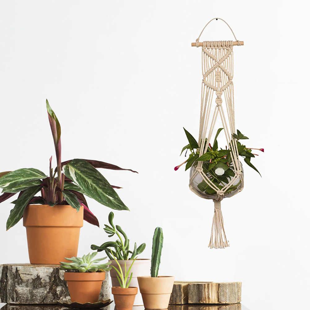 Giardinaggio Vaso di Fiori Sacchetto Netto Pianta Verde Cesto Appeso Gancio Corda di Canapa Tessuti A mano Fionda Decorazione Della Parete P7Ding
