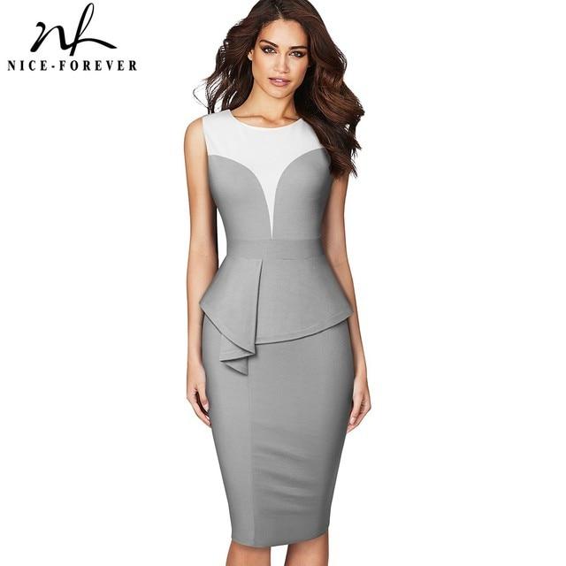Nice forever Elegant Contrast Color Patchwork Office Work Peplum vestidos Business Party Bodycon Women Pencil Dress B575