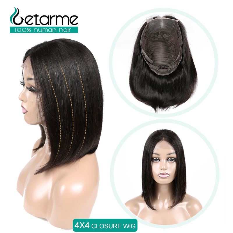 Short Bob Wigs 4x4 Lace Human Hair Wigs For Black Women Brazilian Straight Lace Closure Wig Pre Plucked 4x4 Closure Wig Non Remy