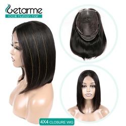 Court Bob perruques 4x4 dentelle perruques de cheveux humains pour les femmes noires brésilien droit dentelle fermeture perruque pré plumé 4x4 fermeture perruque non-remy