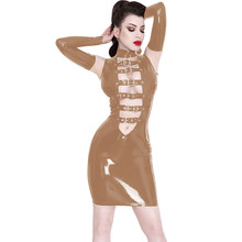 Plus Size 7XL Wet Look Mini Dress With Fingerless Gloves Women PVC Sleeveless Belts Front Vestido Novelty Dancing Club Dress(China)