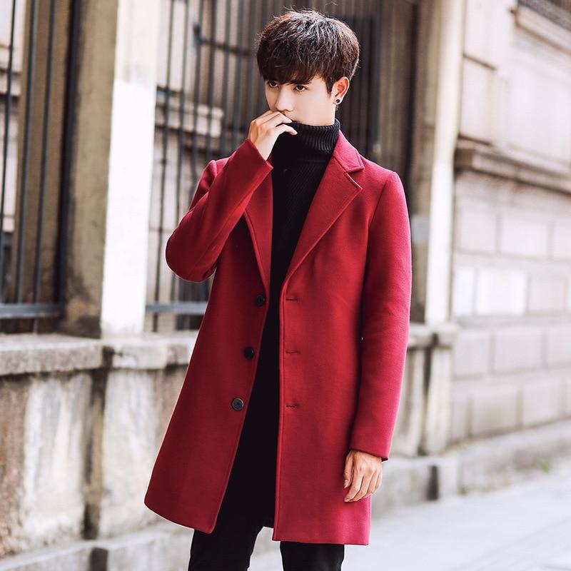 Мужской длинный шерстяной Тренч, приталенная верхняя одежда в Корейском стиле размера плюс 5XL для осени и зимы, s|Плащи и тренчи| | АлиЭкспресс