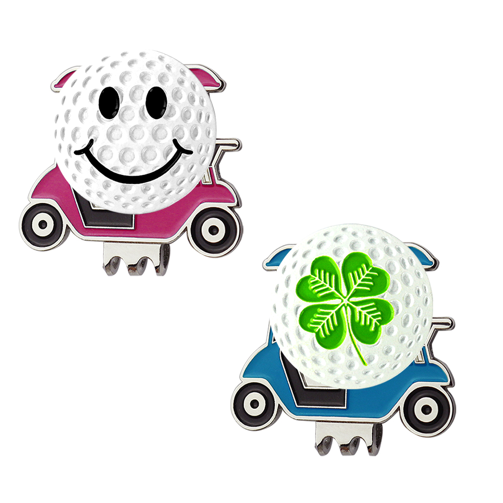 PINMEI Golf Cart Hat Clips Ball Mark Sets Embossied Cap Clips And Golf Markers Pack Of 2 Golf Aids Sets For Children/Lady Golfer