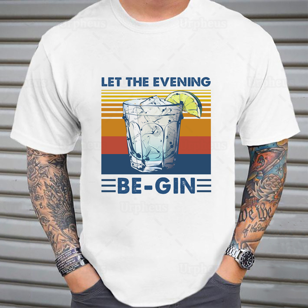 100% Cotton Cocktail T Shirt Let The Evening Be Gin Funny Cocktail Wine Vintage Style Shirt Hip Hop Summer Top Tees image