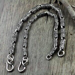 Image 5 - V.YA Black Thai Silver Devanagari Bracelet Mens Six Words Mantra Bracelet Lucky Security Bracelet 925 Sterling Silver Jewelry