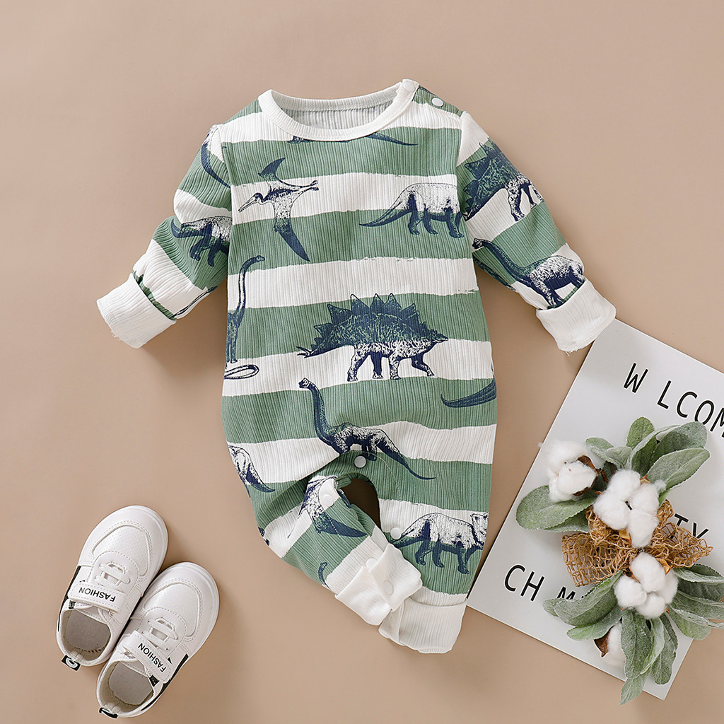 Fall Winter New Infant Baby Romper Jumpsuit Boy Girls Long Sleeve Dinosaur Striped Print Romper Jumpsuit Clothes  A1