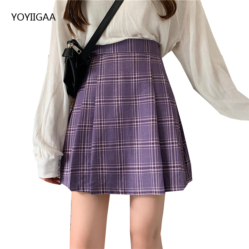 Sweet Women Skirts High Waist Ladies Pleated Skirt Preppy Style Female Plaid Skirts Streetwear Fashion Women's Pleated Skirt