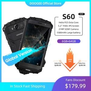 DOOGEE S60 смартфон с 5,5-дюймовым дисплеем, восьмиядерным процессором Helio P25, ОЗУ 6 ГБ, ПЗУ 64 ГБ, 21 МП, 5580 мАч