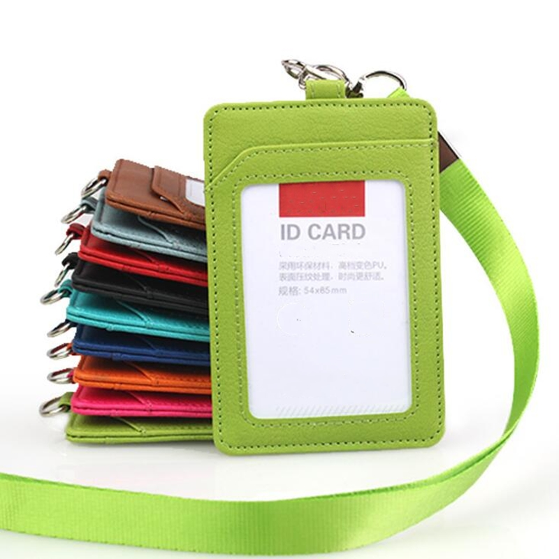 Leather ID Badge Bus Cards Holder With Lanyard Business Office Id Holder