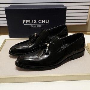 Image 3 - פליקס CHU פטנט עור גברים ציצית בטלן נעלי שחור חום להחליק על Mens שמלת נעלי חתונה נעליים רשמיות מסיבת גודל 39 46