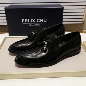 Image 3 - FELIX CHU 특허 가죽 남성 술 로퍼 신발 블랙 브라운 슬립 망 드레스 신발 웨딩 파티 공식 신발 크기 39 46