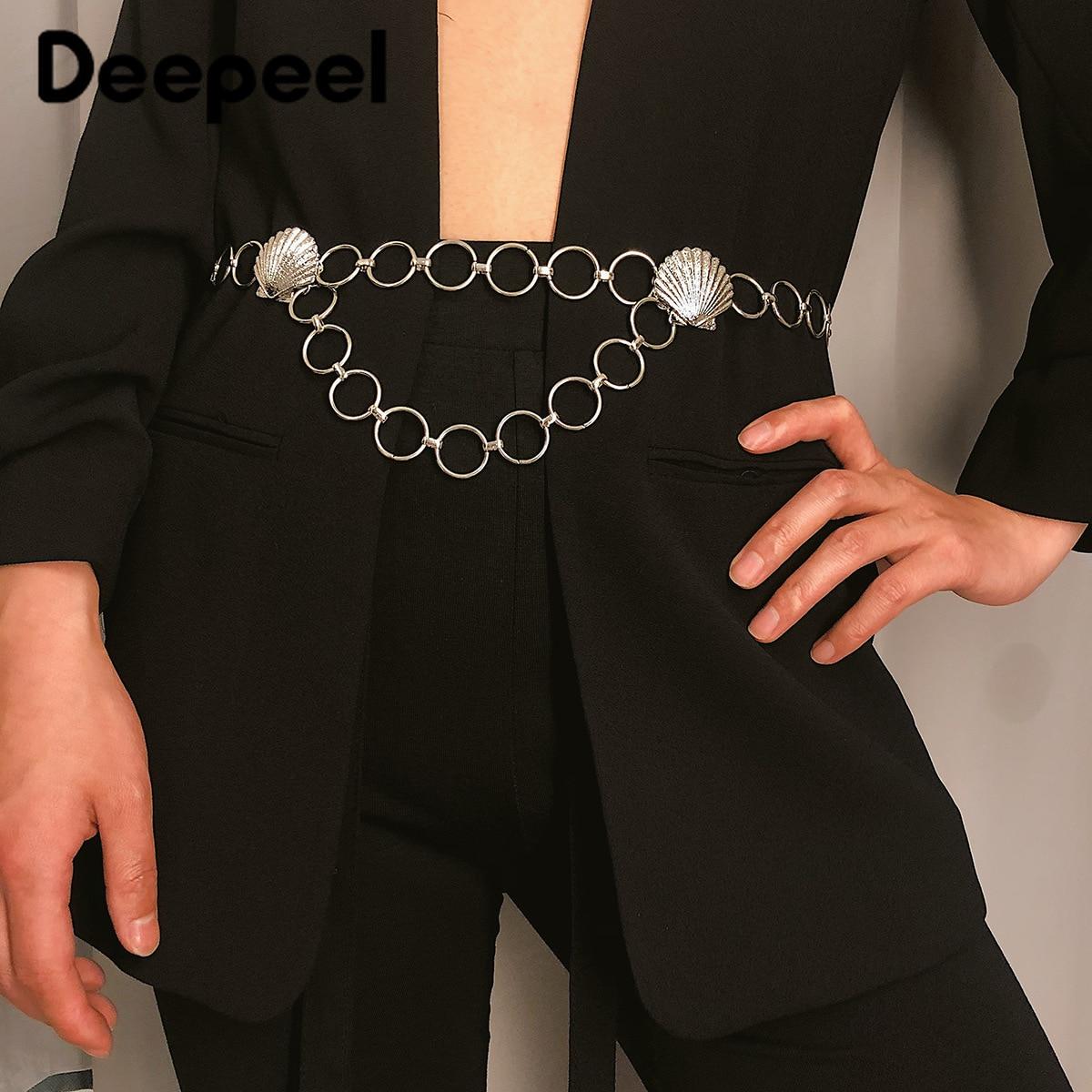 Deepeel 1pc 3.4*102cm Women Metal Round Buckle Cummerbunds Shell Relief Patchwork  Trendy Adjustable Waist Chain For Dress CB650