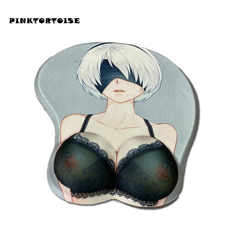 NieR:Automata YoRHa 2B Anime Mousepad 3D Chest Silicone Soft mice Mat Wrist Rest