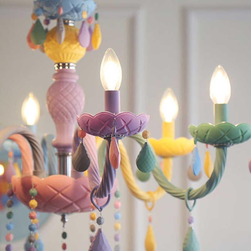Хрустальные современные подвесные светильники цвета Макарон потолочные светильники детская комната Дети творческие фантазия светильник подвесной светильник