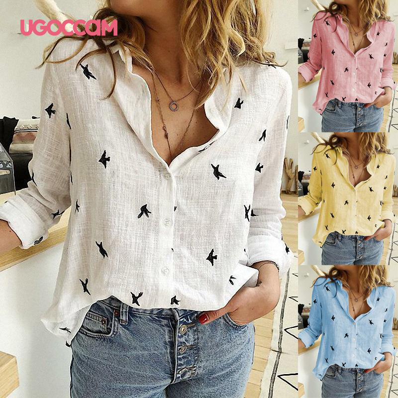 H1c4fa8d615454d01ae32d658f24b4fa9F - UGOCCAM Women Blouse Long Sleeve Blouse Shirt Print Office Turn-down Collar Blouse Elegant Work Plus Size Tops Fashion Women Top