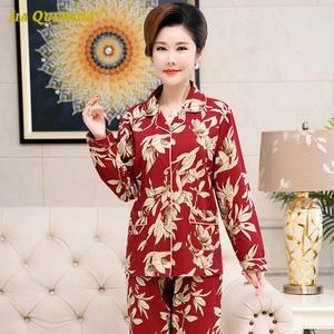 Image 5 - Skręcić w dół kołnierz Homesuit Homeclothes długi rękaw długie spodnie drukowanie piżamy piżamy piżamy zestaw Pj zestaw piżamy dla kobiet