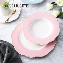 8/9/10 inch Porcelain Dinner Plate for Home Dot Print Steak Dessert Cake Plates Sets Decorative Dish Tableware Set