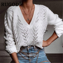RUGOD 2019 Auturm sweater women Fashion long sleeve knitted pullover sweaters female Vintage plus size white hollow out coat