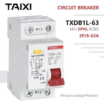 цена на DPNL 63A RCBO 16A 2P RCD Circuit Breaker 20A 25A 50A TPNL 230V 50Hz/60Hz Residual Current Leackage Light Protector C Type 30mA