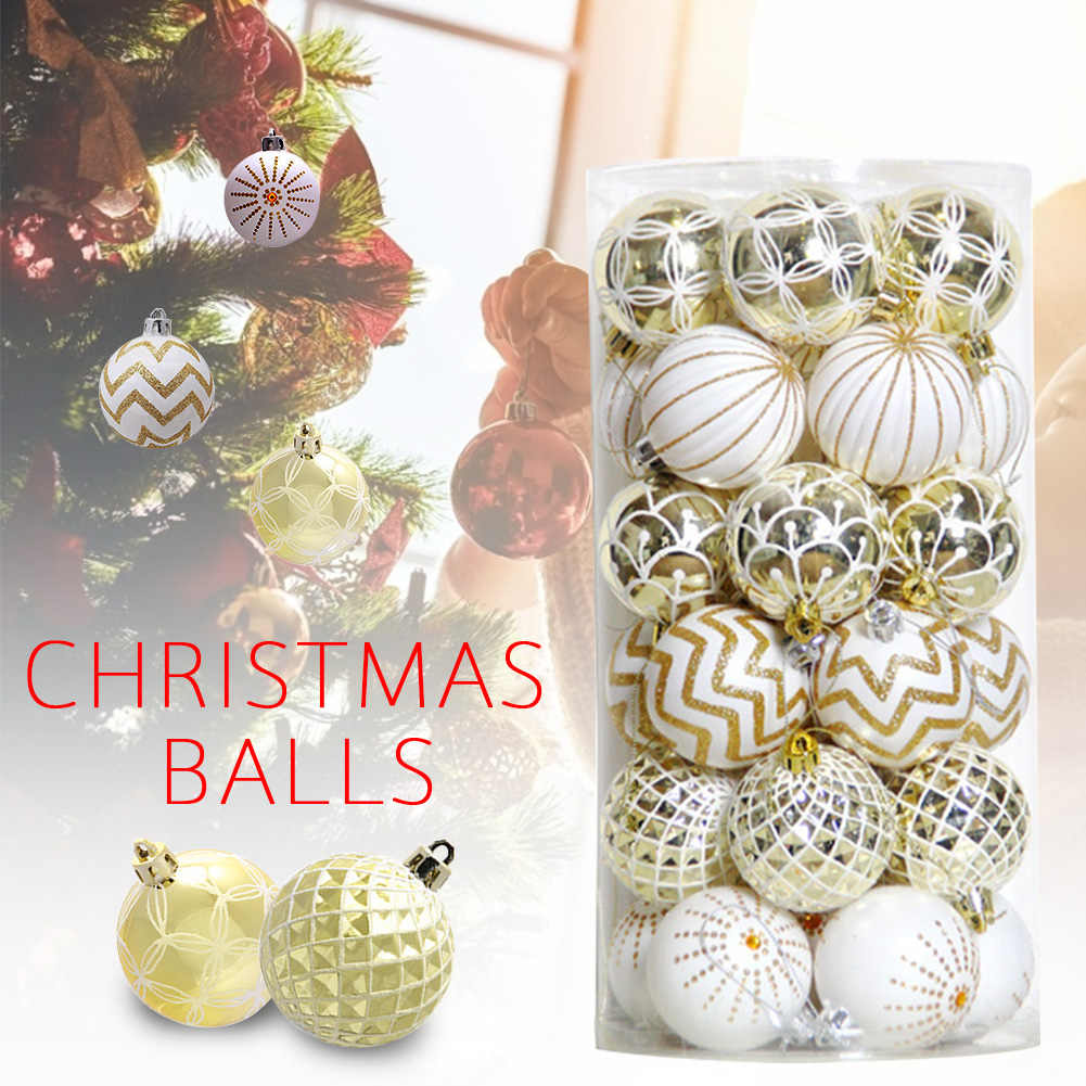 30pcs Tree Decor Painted Christmas Ball Crafts Home Celebration Festival Portable Wedding Ornament Party Hangings Small DIY