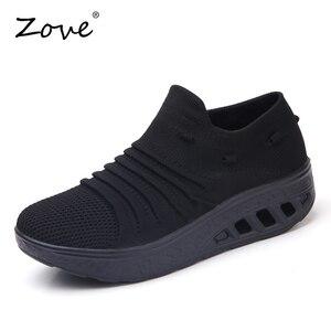 Image 2 - ZOVE damskie trampki buty płaskie klapki platformy buty oddychające siatkowe buty do chodzenia damskie Casual pnącza Rocker jesienne buty