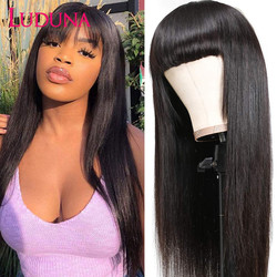 Luduna Straight Human Hair Wigs With Bangs Brazilian Full Machine Made Human Hair Wigs For Women 150% Remy Hair Wig
