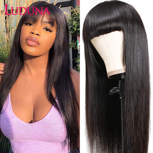 Luduna Straight Human Hair Wigs With Bangs Brazilian Full Machine Made Human Hair Wigs For Women 150% Remy Hair Wig