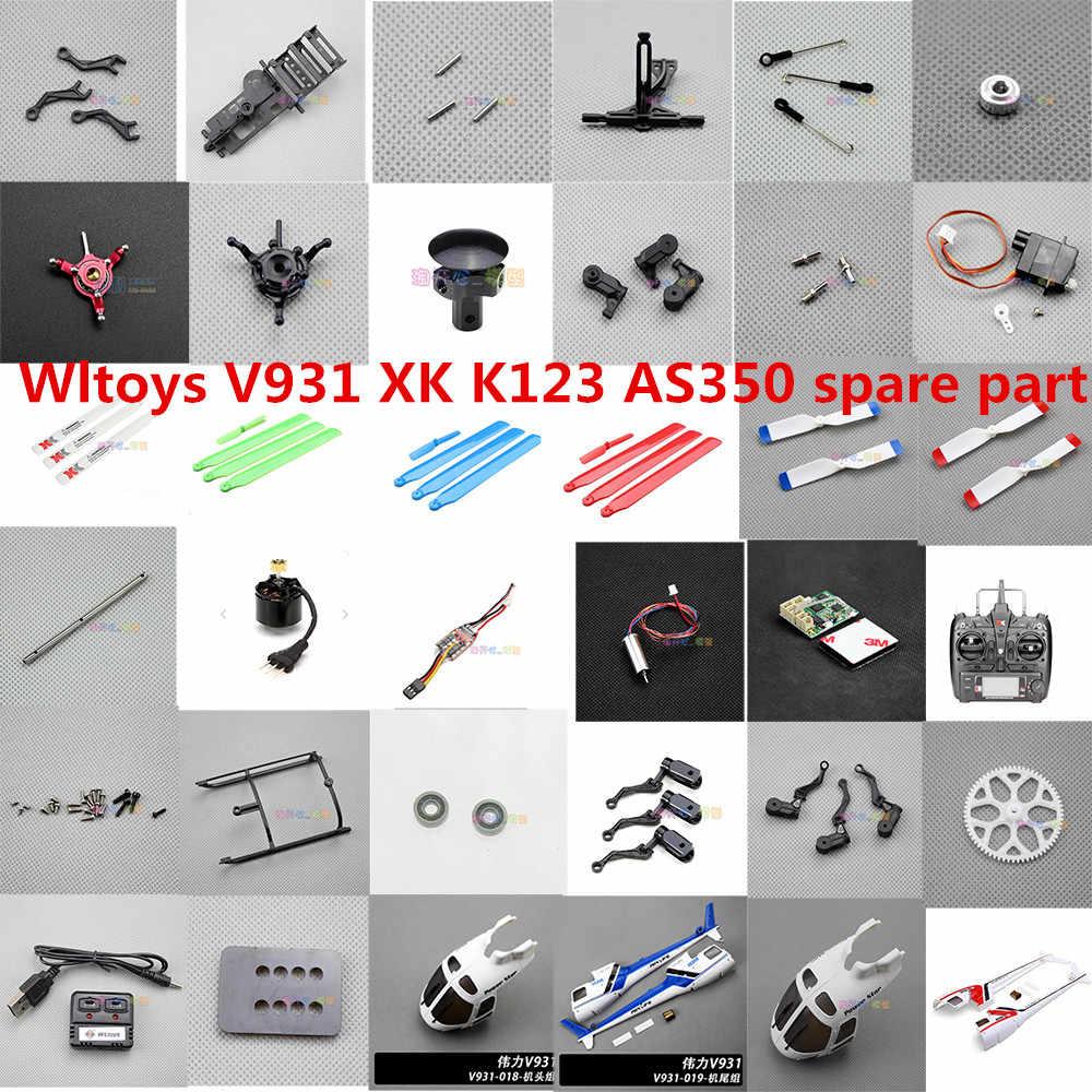 Wltoys V931 XK K123 AS350 RC piezas de helicóptero motor de hoja ESC shell rotor cabeza Rotor clip rodamiento swashplate cargador engranaje etc.