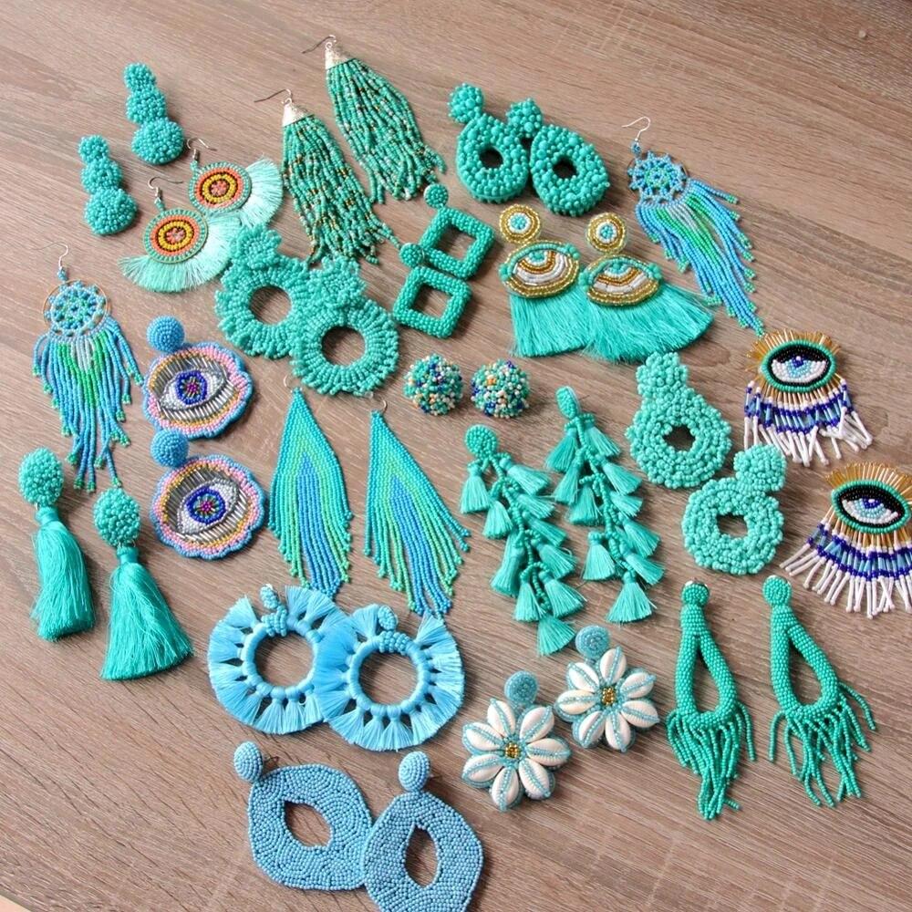 Turquoise beaded lace earrings Bridesmaid boho accessory