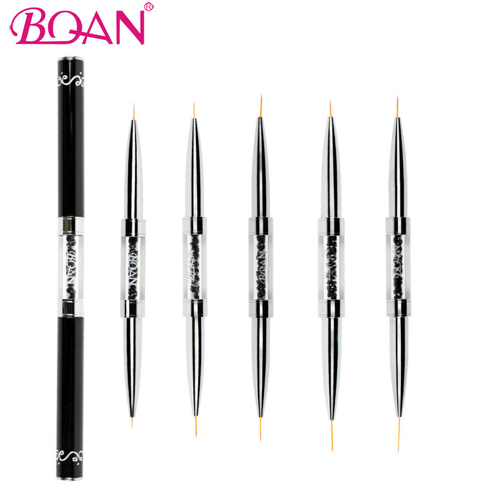 BQAN Double Head Liner Nail Art Brush With Rhinestones Handle To Drawing Nail Line Pen 6