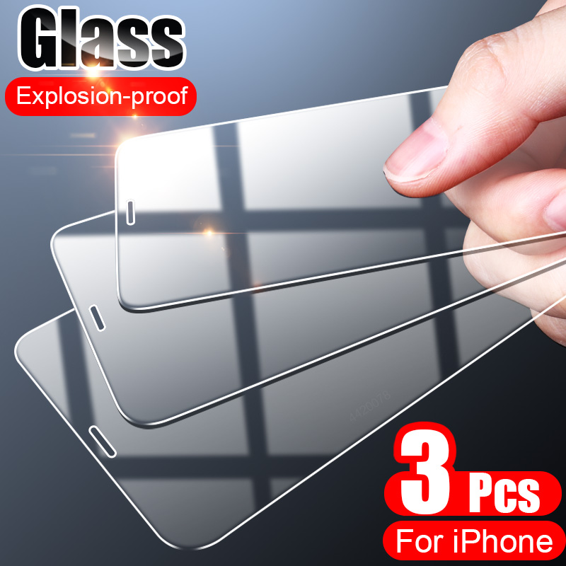 3PCS Full Cover Tempered Glass On the For iPhone 7 8 6 6s Plus X  Screen Protector On iPhone X XR XS MAX 5 5s SE 11 Pro Glass 1