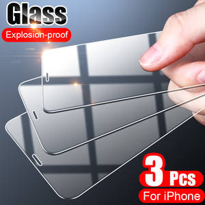 3PCS Full Cover Tempered Glass On the For iPhone 7 8 6 6s Plus X  Screen Protector On iPhone X XR XS MAX 5 5s SE 11 Pro Glass