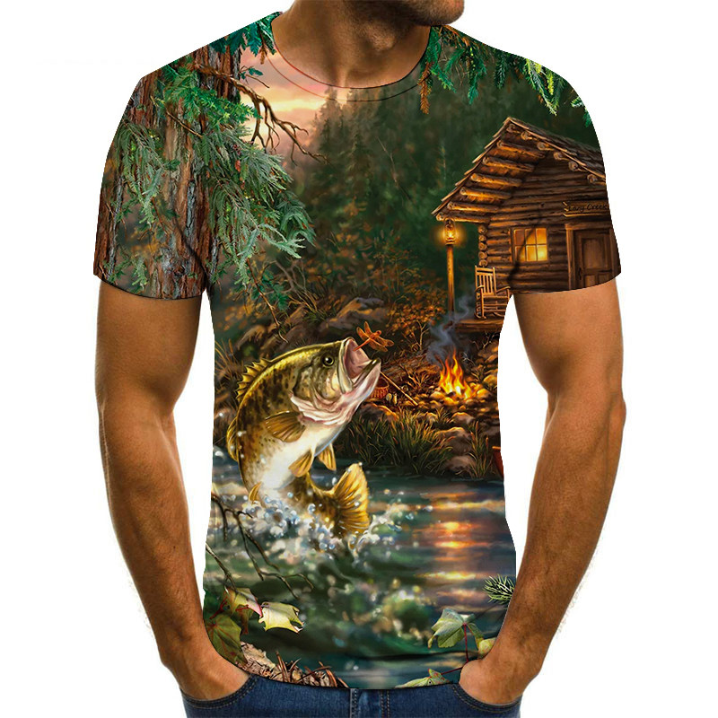 new 2021 fishing t shirt style casual Digital fish 3D Print t-shirt Men Women tshirt Summer Short Sleeve O-neck Tops&Tees s-6xl
