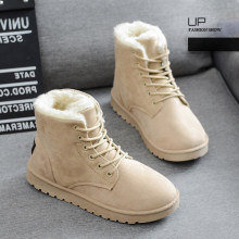 2019 Winter Faux Wildleder Knöchel Stiefel für Frauen Schnee Stiefel Warm Plüsch Pelz Lace-up Stiefel Casual Flache Plattform damen Schuhe(China)