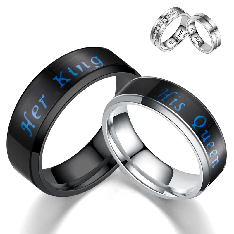 2021 Fashion Smart King Queen Temperature Mood Stainless Steel Couple Rings For Lovers Promise Men Women Valentine's Day Gifts