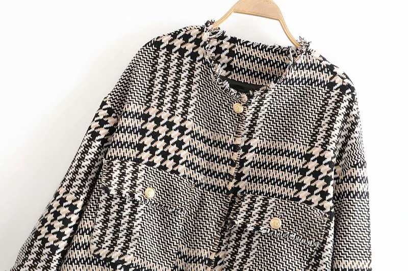2020 autumn women jacket england office lady Plaid tweed jacket blazer feminino women blazer mujer women blazers and jackets