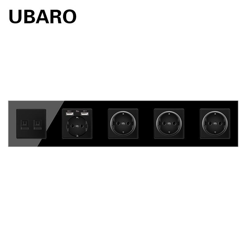 UBARO German Standard Crystal Glass Panel Wall Socket With RJ45 RJ11 TV Sigal Terminals Plug Sockets Home Outlet AC100-250V 16A