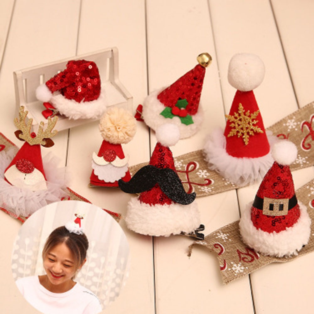 New Christmas Hair Clip Christmas Tree Hat Headwear Hair Accessory For Girl Kid Holiday Party Decoration kids gifts 18 colors