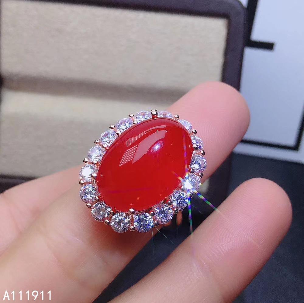 KJJEAXCMY Boutique Jewelry 925 Sterling Silver Inlaid Natural Red Carnelian Luxurious Female Ring Support Test Classic