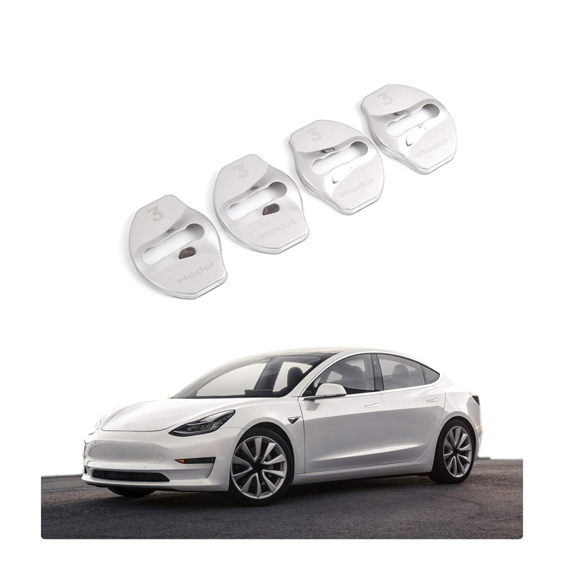 Model 3 Door Latch Lock Cover Interior Accessories Stainless Steel Cover Pack 4Pcs For Tesla Model 3 2017 2018 2019(Silver)