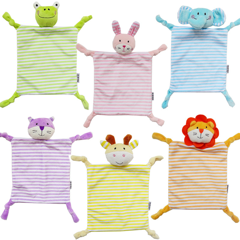 Newborn Toddler Kids Plush Towel Cartoon Cat Rabbit Animal Rattle Toy Baby Sleeping  Stuffed Dolls Comfort  YYT366