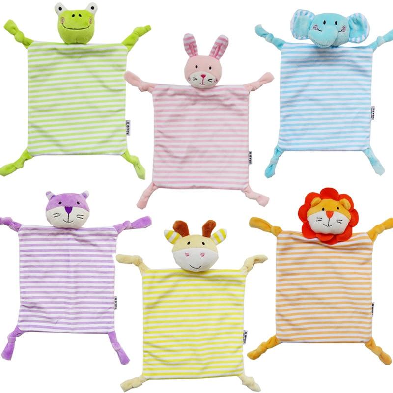 Newborn Toddler Kids Plush Towel Cartoon Cat Rabbit Animal Rattle Toy Baby Sleeping  Stuffed Dolls Comfort  YYT366